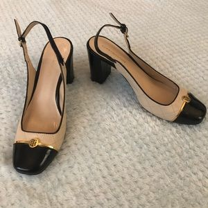 Tommy Hilfiger Size 8 Cream and Black Slingback